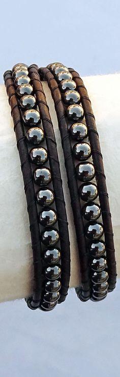 Men's Leather Bracelet, Hematite Beaded Wrap Bracelet