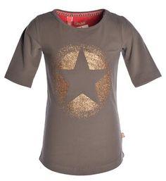 Like Flo t-shirt met goudkleurige print met ster en voorzien van driekwart mouwen - Grijs - NummerZestien.eu