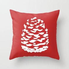Modern Pinecone Throw Pillow Cover  Red Holiday by AldariHome