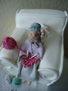 Nana knitting Cake For Lena's 90th Birthday