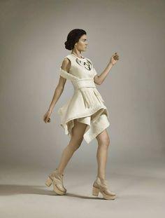 "Dominga, Dinamica® ""Eco Chic Award"" at Mittelmoda, Milan, Italy. by Mercedes Arocena and Lucía Benitez Awards, White Dress, Chic, Clothes, Collection, Dresses, Milan Italy, Felting, Uruguay"