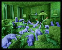 Sandy Skoglund The Green House, 1990, color photograph, approx. image area cm 115.6x148.12 ca.