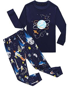 Family Feeling Space Baby Boys Long Sleeve Pajamas Sets 100 Cotton Clothes Toddler Infant Kids 1218 Months *** Learn more by visiting the image link.