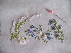 Larger pic. Flowerbed in traditional embroidery - Au Fil de l'Aiguille