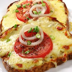 This open face tomato and cheese sandwich is broiled in the oven and has so much flavor.. Toasted Tomato Cheesemelt Recipe from Grandmothers Kitchen.