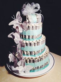 jpg The post butterfly-money-cake.jpg appeared first on Spardose ideen. Money Birthday Cake, Money Cake, Birthday Gifts, Wedding Towel Cakes, Cool Wedding Cakes, Homemade Gifts, Diy Gifts, Bride Gifts, Wedding Gifts