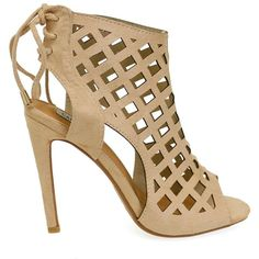 Elnora-15 Beige Caged Peep Toe High Heels ($15) ❤ liked on Polyvore featuring shoes, pumps, caged high heel shoes, high heel shoes, peep-toe pumps, caged pumps and peep-toe shoes