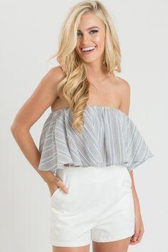 Allison Blue Striped Crop Top