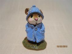 Wee Forest Folk April Showers Blue Slicker Red Boots Retired - WFF Box