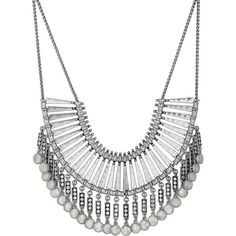 Lucky Brand Silvertone Freshwater Pearl Statement Necklace (5,300 INR) ❤ liked on Polyvore featuring jewelry, necklaces, silver, silver tone necklace, freshwater pearl necklace, bib statement necklace, fresh water pearl necklace and dangling jewelry