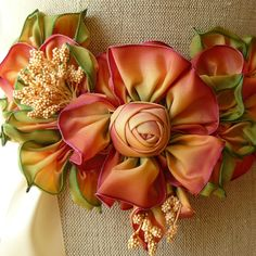 Image of Antique Inspired Ribbon Flower Corsage #102
