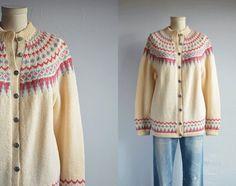 Vintage Norwegian Wool Fair Isle Cardigan / 70s by zestvintage