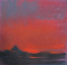 red sky at night sailors delight by Loriann Signori Pastel ~ 6 x 6