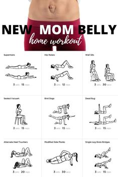 If you just had a baby and have clearance from your doctor start getting your core, abs and body back in shape with this new mom belly home workout. You won't need mommy and me fitness classes with this routine to help you snap back. New Mom Workout, After Baby Workout, Post Baby Workout, Post Pregnancy Workout, Baby Belly Workout, Belly Workouts, Fit Pregnancy, Fitness After Baby, Body After Baby