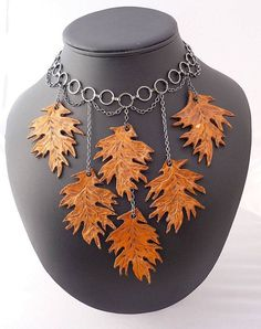Turning Over a New Leaf Leather Leaf Choker by WireWorkandWhatNot, $80.00