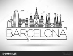 Illustration of Minimal Barcelona City Linear Skyline with Typographic Design vector art, clipart and stock vectors. City Drawing, City Sketch, Barcelona City, Travel Drawing, Typographic Design, Typography, Usa Tumblr, Instagram Highlight Icons, City Art