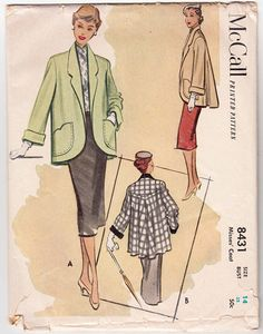 "Vintage Sewing Pattern Misses Coat 1950s McCall 8431 32"" Bust - Free pattern Grading E-Book Included"