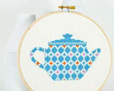 Cross stitch pattern PDF Happy teapot in blue by RedGateStitchery