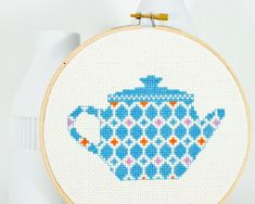 Cross stitch pattern PDF  Happy teapot in blue by RedGateStitchery, $5.00