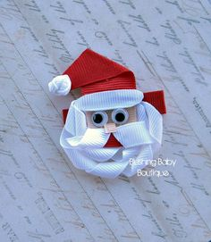 Santa Clause Hair Clip- Attached to Partially lined Alligator Clip-. $3.50, via Etsy.