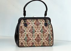 Womens handbag 2 in 1 tapestry cover brown by joyridevintage, $24.00