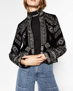 Image 2 of JACKET WITH METALLIC EMBROIDERY from Zara