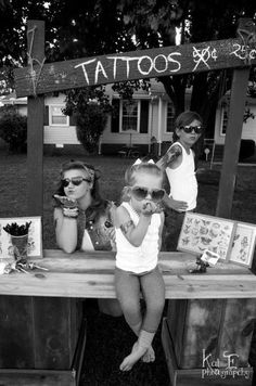 tattoo stand for the kiddies - lemonade stands are for the whimpy kids next door. How fun (and fitting!) would it be to have a tattoo stand with fake tattoos? Doing this for the kids
