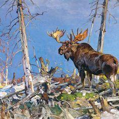Wildlife Paintings, Wildlife Art, Animal Paintings, Tree Paintings, Moose Pictures, Art Pictures, Art Pics, Photos, Deer Art