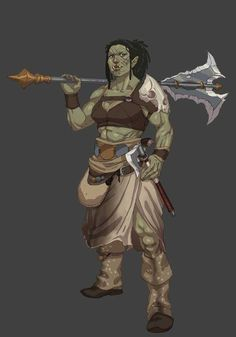 f Half Orc Barbarian Great Mace Axe Underdark Traveler d&d DnD Character by Joma Cueto ArtStation lg Fantasy Character Design, Character Design Inspiration, Character Concept, Character Art, Character Ideas, Fantasy Races, Fantasy Warrior, Fantasy Rpg, Dungeons And Dragons Characters