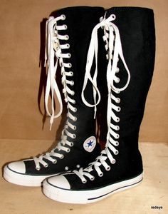 e3bf2aa91bb CHUCK TAYLOR ~ BLACK KNEE HIGH CONVERSE SHOES womens size 5
