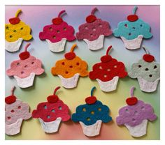Felt Cupcakes, Die Cut Craft Embellishments - pinned by pin4etsy.com