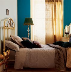 Create a luxurious hotel-style bedroom Decoration Inspiration, Color Inspiration, Blue Bedroom, Bedroom Decor, Attic Rooms, Blue Walls, Colorful Interiors, Interior And Exterior, Bean Bag Chair