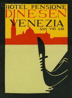 ITALY - VENICE - Hotel Pensione Dinesen Venezia Luggage Label