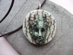 Ceramic Pottery Handmade Horned God Pendant by RowanSongCrafts