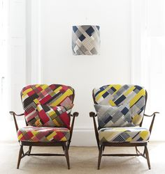 Tamasyn Gambell. Simple Geometry collection. Reupholstered vintage Ercol chairs.