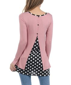 Another great find on #zulily! Pink Polka Dot Split-Back Tunic - Plus #zulilyfinds