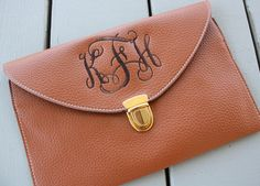 Bridesmaid gift Monogrammed Women's Clutch Purse Crossbody. $28.00, via Etsy.