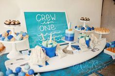 Stellar Kids Ombre Surf Party by Melody, from My Sweet and Saucy! Dessert Table details that make you feel like you are at the ocean! Surfs UP!