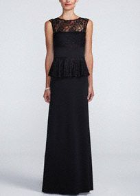 Long Jersey Peplum Dress with Beaded Lace