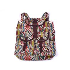 Hand-crafted Cotton colored Flap-over Top Backpack (Thailand)