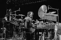 Drummer Neil Peart from Canadian progressive rock band Rush posed at his drum kit in the Public Auditorium in Cleveland, Ohio on 17th December 1977.
