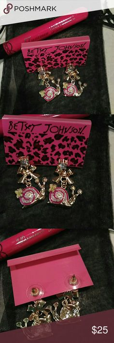 Betsey Johnson Snails earring gold tone **Bonus Very pretty snails pink and yellow enamel snails on gold tone has the backs brand new never worn earrings Betsey Johnson Jewelry Earrings