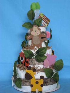 Jungle nappy cake