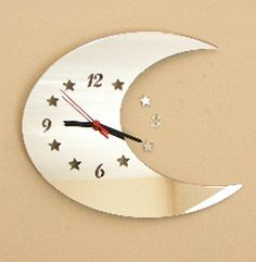 Half Moon Clock Mirror with Cut Out Stars  2 by SuperCoolCreations