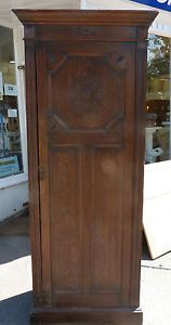 Charming Vintage Oak Single Narrow Wardrobe   Hall Coat Cupboard