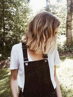 Ombre Brown to Blonde Lob Hair