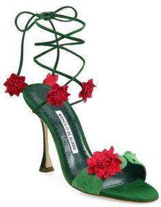 Manolo Blahnik Xacactus Suede Ankle-Wrap Sandals
