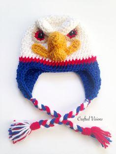 Crochet Eagle hat pattern, America, USA, by CraftedVisions Crochet Kids Hats, Crochet Girls, Crochet Yarn, Crochet Hooks, Knitted Hats, Free Crochet, Double Crochet, Single Crochet, Chicken Hats