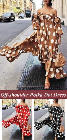 Off-shoulder Polka Dot Maxi Dress For Women is high-quality, see other cheap summer dresses on NewChic. Cheap Summer Dresses, Polka Dot Maxi Dresses, New Chic, African Dress, Fashion Prints, Fashion Dresses, Polka Dots, Elegant, Clothes