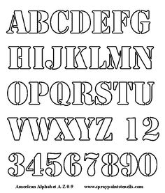 alphabets and numbers stencil to color